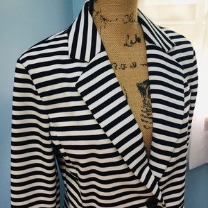 Ellen Tracy Black and White Striped Jacket